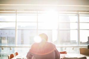 business executive meditating