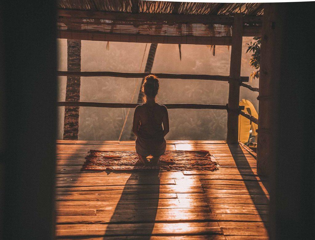 woman meditates