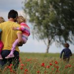 children-with-dad-field-of-flowers-mindfulness